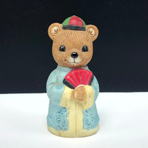 HOMCO TEDDY BEAR FIGURINE vintage 1406 porcelain cub geisha japan fan komono hat - $17.82