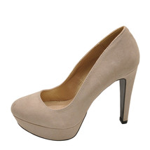Qupid Pitri 01 Taupe Women's Closed Toe Faux Suede Pump - $28.95