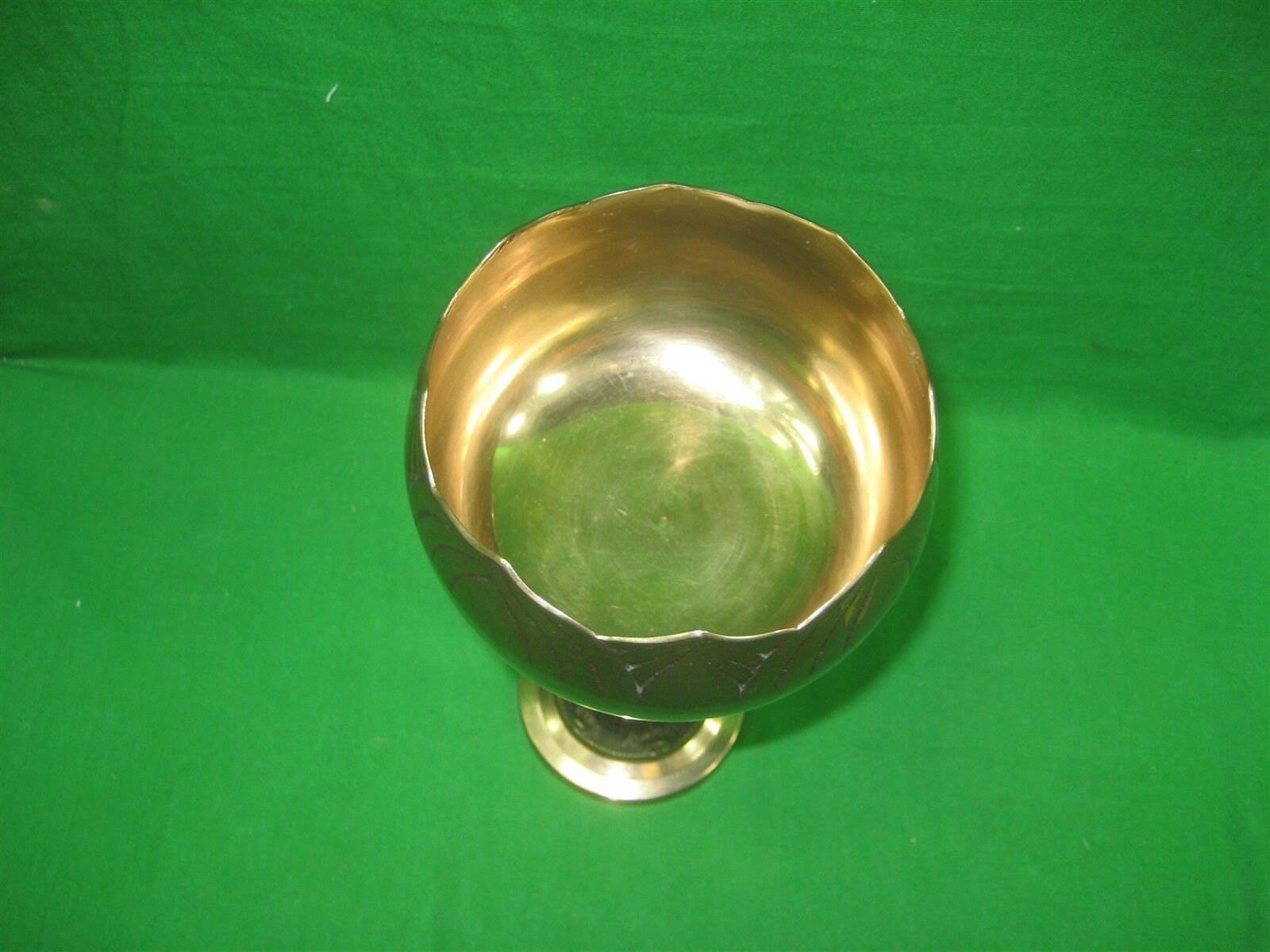 """Vintage Brass Etched Bowl Centerpiece on Pedestal Stand Made In Korea 10"""" Tall image 3"""