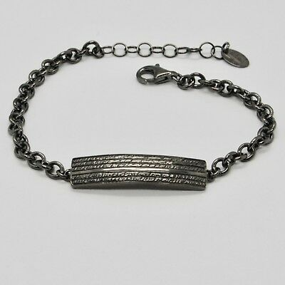 Silver Bracelet 925 Burnished Black, Man Woman by Maria Ielpo Made in Italy