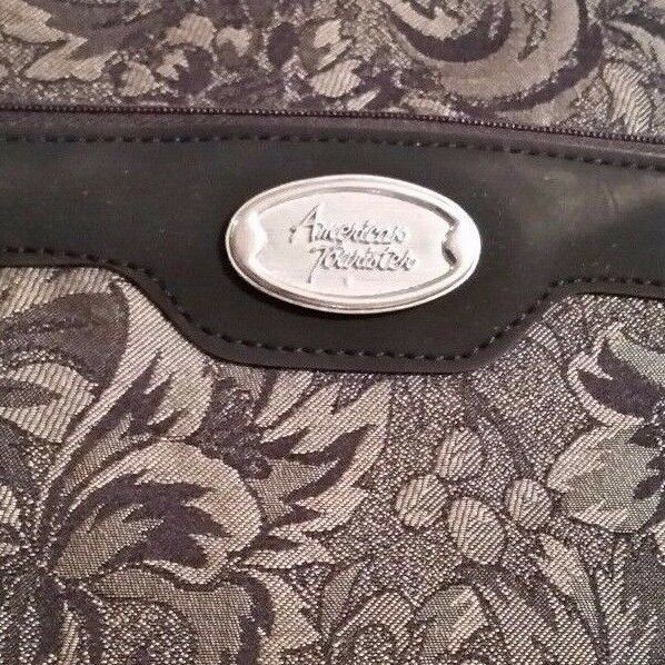 Vintage Suitcase American Tourister Fabric Case Luggage Black & Gray