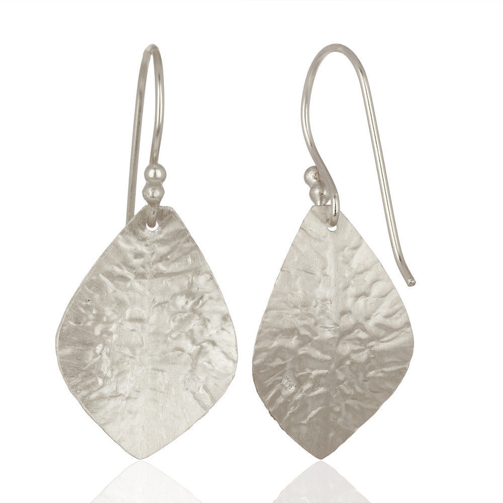 925 Sterling Silver Dangle Earrings Textured Design Plain Fashion Jewelry