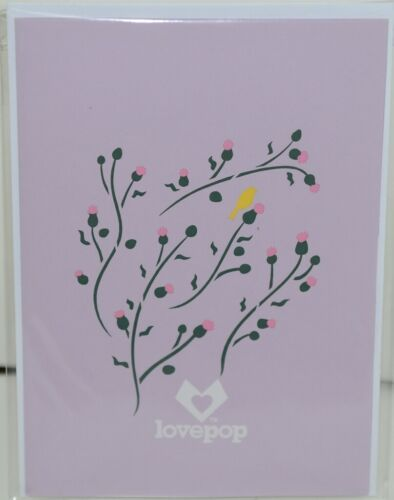 Lovepop LP1960 Goldfinch Pop Up Card Purple Slide Out Note Cellophane Wrapped