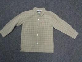 QUIKSILVER Tan Black White Long Sleeved Boys Button Down Size L SM8555 - $24.70