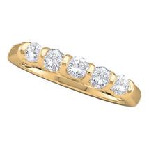 14k Yellow Gold Womens Round Diamond 5-stone Single Row Wedding Band 1/2... - $814.80