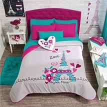 JORGE'S Paris Chic Eiffel Tower French,Teen Girls Comforter Set,Embroidered Shee - $246.51