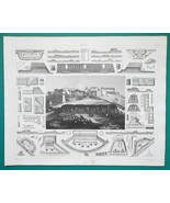 FORTIFICATIONS Batteries Construction - 1844 Superb Print - $9.00