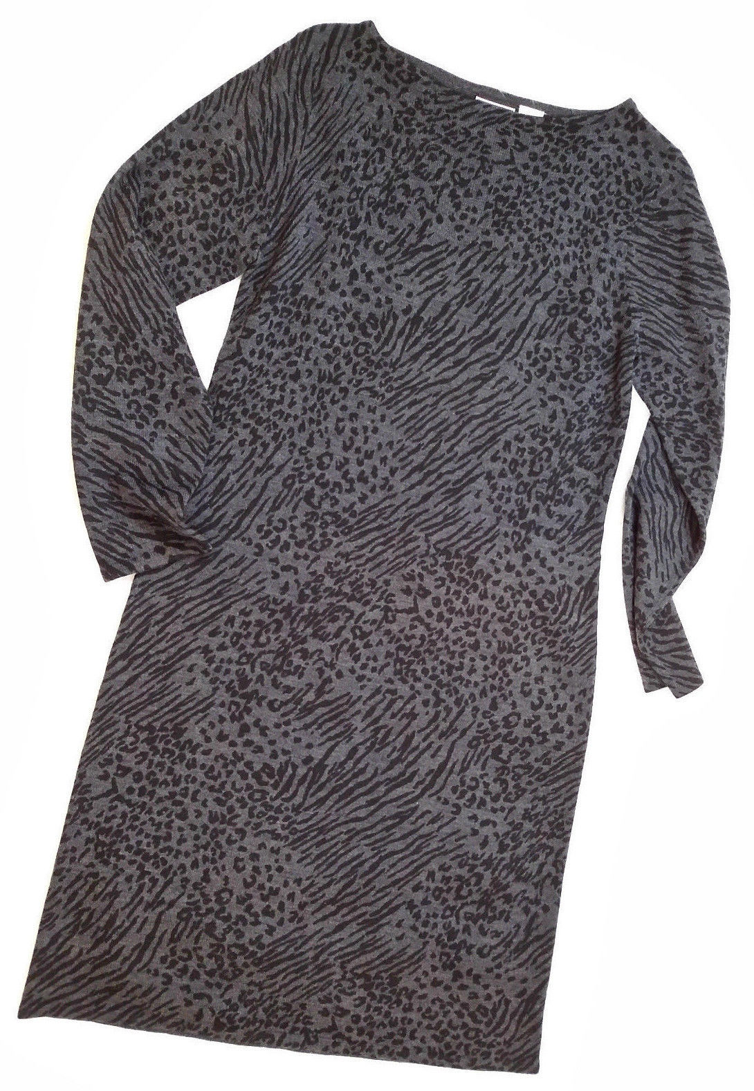 03b37a76042 LENNIE for Nina Leonard Women s Animal Print Black Gray Knit Dress Size ...