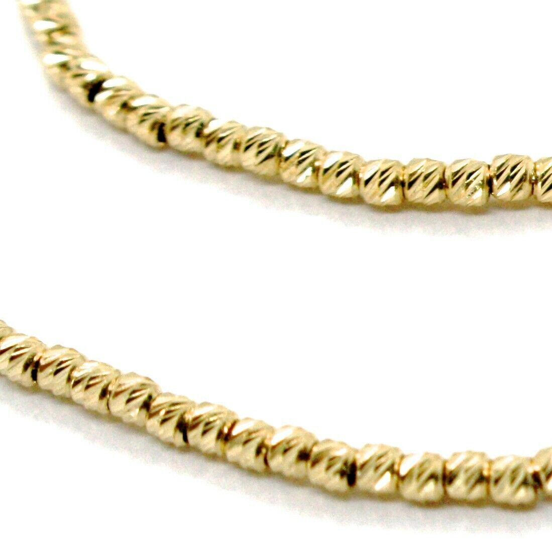 "18K YELLOW GOLD CHAIN FINELY WORKED SPHERES 1.5 MM DIAMOND CUT BALLS, 20"", 50 CM"