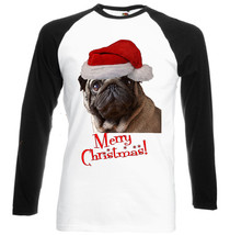 Merry Christmas Pug Santa - New Black Sleeved Baseball Tshirt - $22.04