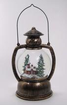 Lighted Spinning Snow Globe Church in Winter Scene Lantern Christmas Decor - £21.81 GBP