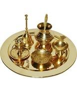 Brass Pooja Thali -  Set Of 8 - Diwali Decoration Item - Aarti Thali - R... - $33.99