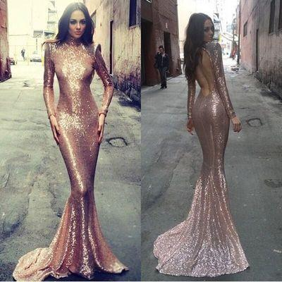Long sleeve mermaid prom dress, rose gold prom dresses, sequin prom dresses