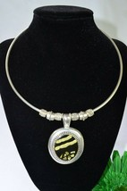 KC Silver Plate Choker Pendant Statement Bib Necklace Vintage Chic Jewel... - $8.97