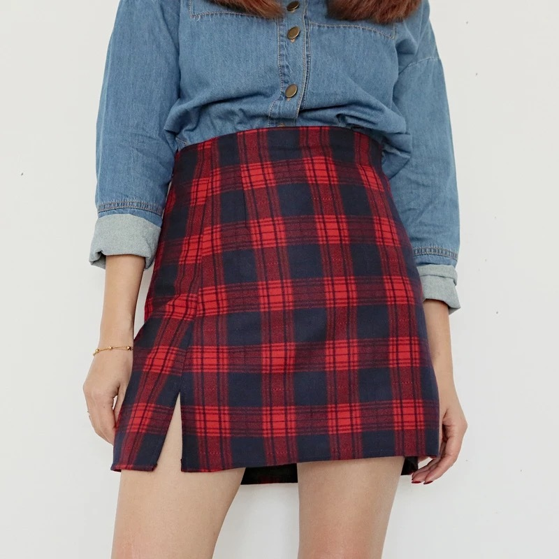 Autumn Short Plaid Skirt Women Girl Campus Style Plaid Skirt - Red Plaid, Petite