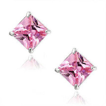 Tourmaline Square Princess Cut CZ Crystal 925 Sterling Silver Stud Earrings - $34.63+