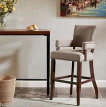"Fabric Bar Height Stool Wood Brown Kitchen 30"" High Chair Arm Mid Centur... - £189.67 GBP"