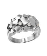 Mens Sterling Silver CZ Nugget Ring - $69.99