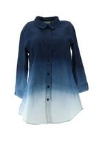 Liz Claiborne NY Dip Dye Button Frnt 3/4 Slv Denim Tunic Dark Wash 8 NEW A266174 - $38.59