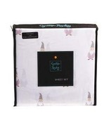 Cynthia Rowley Lavender and Gray Gnomes on White Microfiber Sheet Set Tw... - $33.00