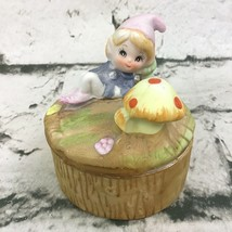 "Vintage HOMCO Woodland Elf In Forest Mushroom Ceramic Trinket Box 3"" With Lid - $14.84"