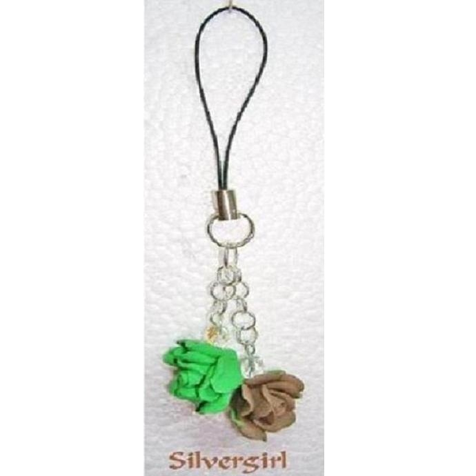 Cell phone charm green brown rose