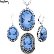 Lady Queen Cameo Jewelry Sets Vintage Necklace Earrings Ring Fashion Jewelry - $17.49