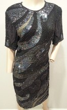 VTG Sequin Heavily Beaded Navy Black Silver Galaxy Space Silk Trophy Dre... - $237.49