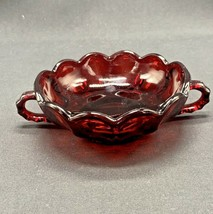 Vintage Anchor Hocking Ruby Red Glass Thumbprint Candy Dish With 2 Handles - $7.84
