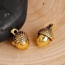 Brand New 5 Acorn Charms, 3D, Antique Gold Tone 21x18mm - $6.05