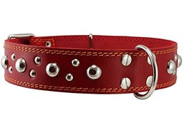 """Genuine 1.75"""" Wide Thick Leather Studded Dog Collar Red. Fits 21.5""""-26"""" ... - $47.39"""
