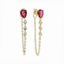 tear drop cz chain earring colorful birthstone cubic zirconia Gold color... - $16.38