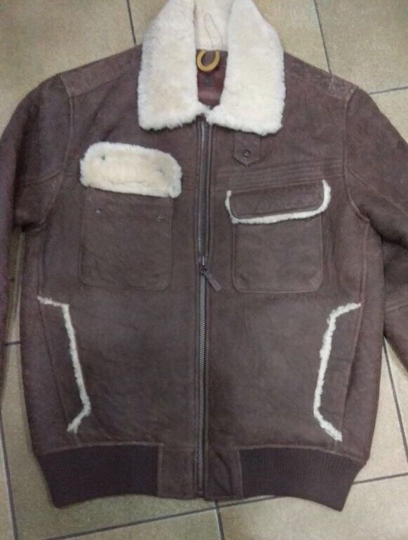 1190$ Timberland size XL MEN'S Earthkeepers SHEARLING BOMBER leather JACKET