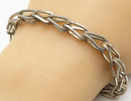 925 Sterling Silver - Vintage Textured Double Looped Chain Bracelet - B4595 - $64.55