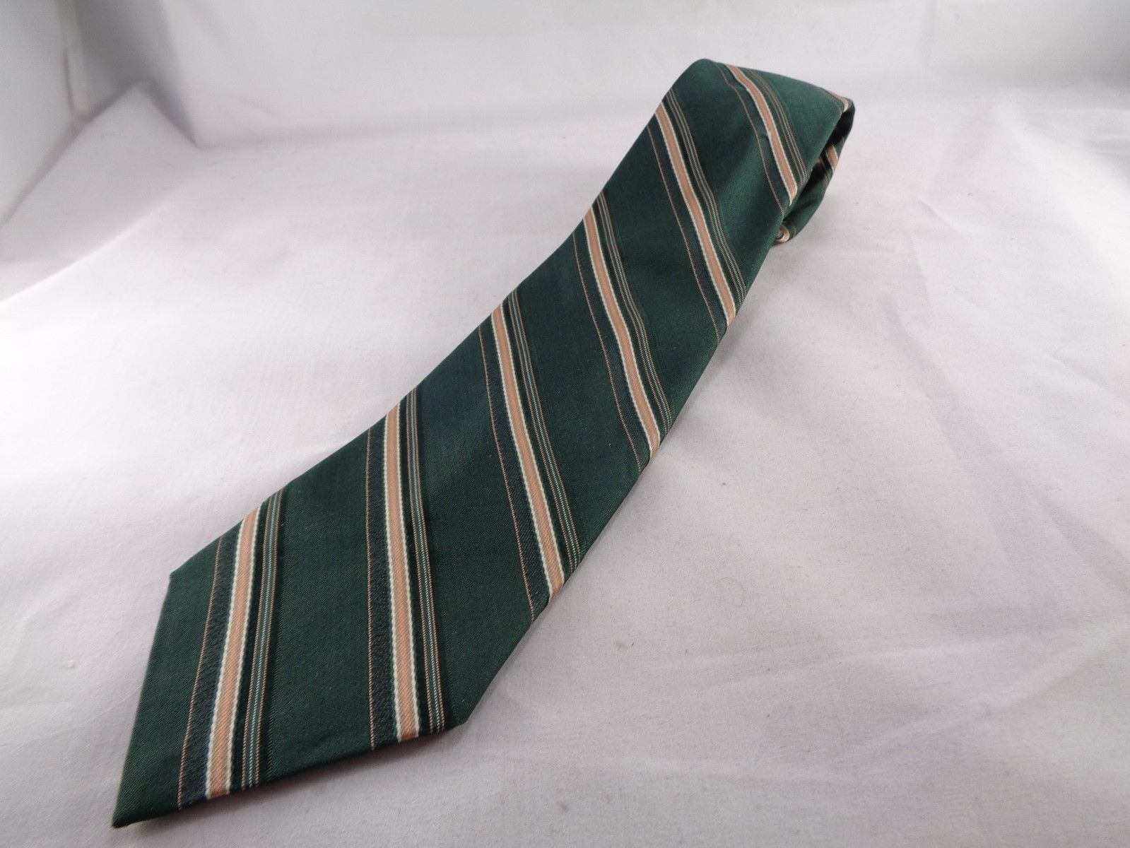 "Sears Mens Store Striped Tie Polyester Green orange Necktie 57"" Long  3.5"" W - $10.68"