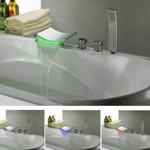 Chrome Finish Contemporary Color Changing LED Waterfall Tub Faucet - $346.45