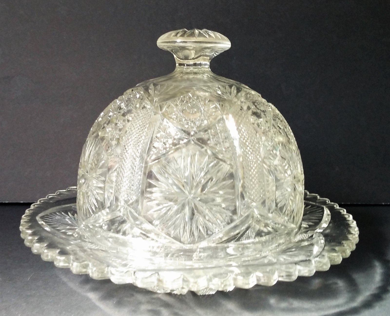Imperial Glass Star and File Domed Butter Dish