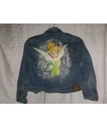 L Girls Disney Store Fairies Tinker Bell Blue  Jean Jacket Size 10 12 Us... - $24.99