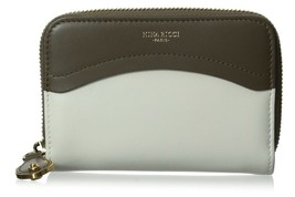 Nina Ricci Brown Ivory Lambskin Leather Colorblock Zip Around Wallet $675 NWT  - $192.56