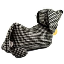 Delton Black Checkered Tweed Fabric Dachshund Puppy Dog Door Stopper Doorstop image 3