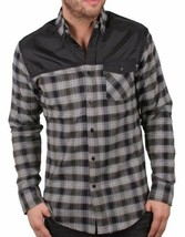 Staple New York Black Grey Red Complex Flannel Plaid Button Up Shirt NWT