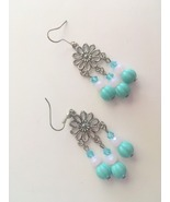 New Aqua and Pink Chandelier Hook Earrings, Blue Melon and Pink Opaque B... - $15.00