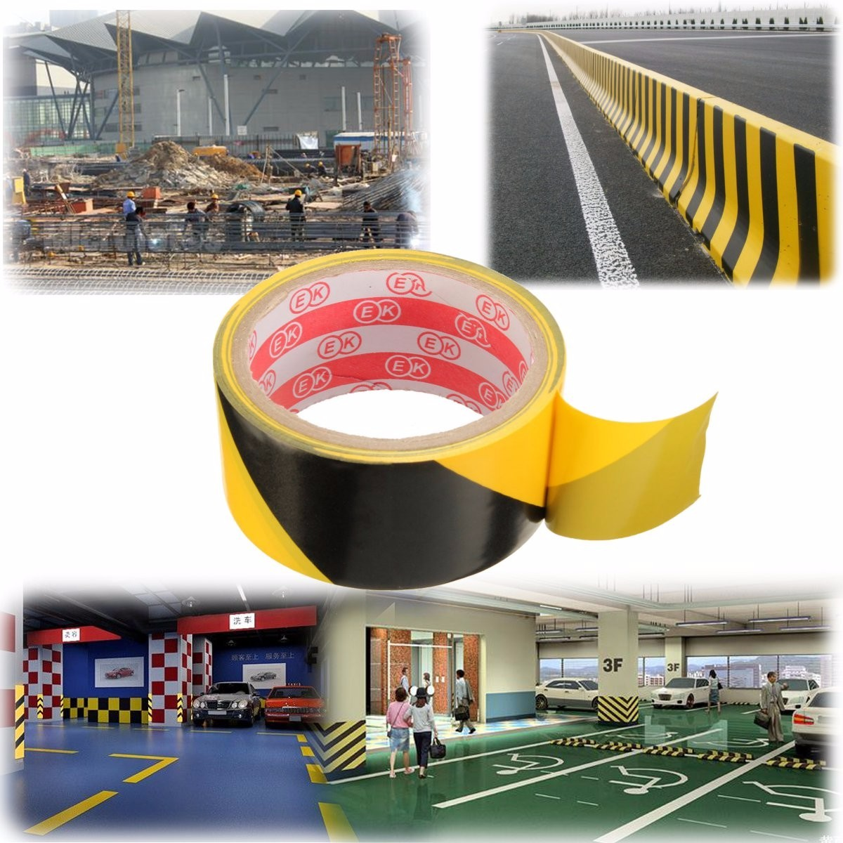 45mm Black and Yellow Self Adhesive Hazard Warning Safety Tape Marking Safety Ca