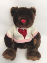 "Dan Dee Teddy Bear 10"" Dark Chocolate Brown With Red Heart Pink White Sw... - $14.70"
