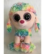 "9"" RAINBOW the Poodle Dog TY BEANIE BOOS Tie Dye Plush GLITTER EYES - $9.99"