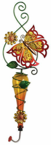 Painted Metal & Glass Orange Butterfly Garden Hanging Hummingbird Nectar Feeder