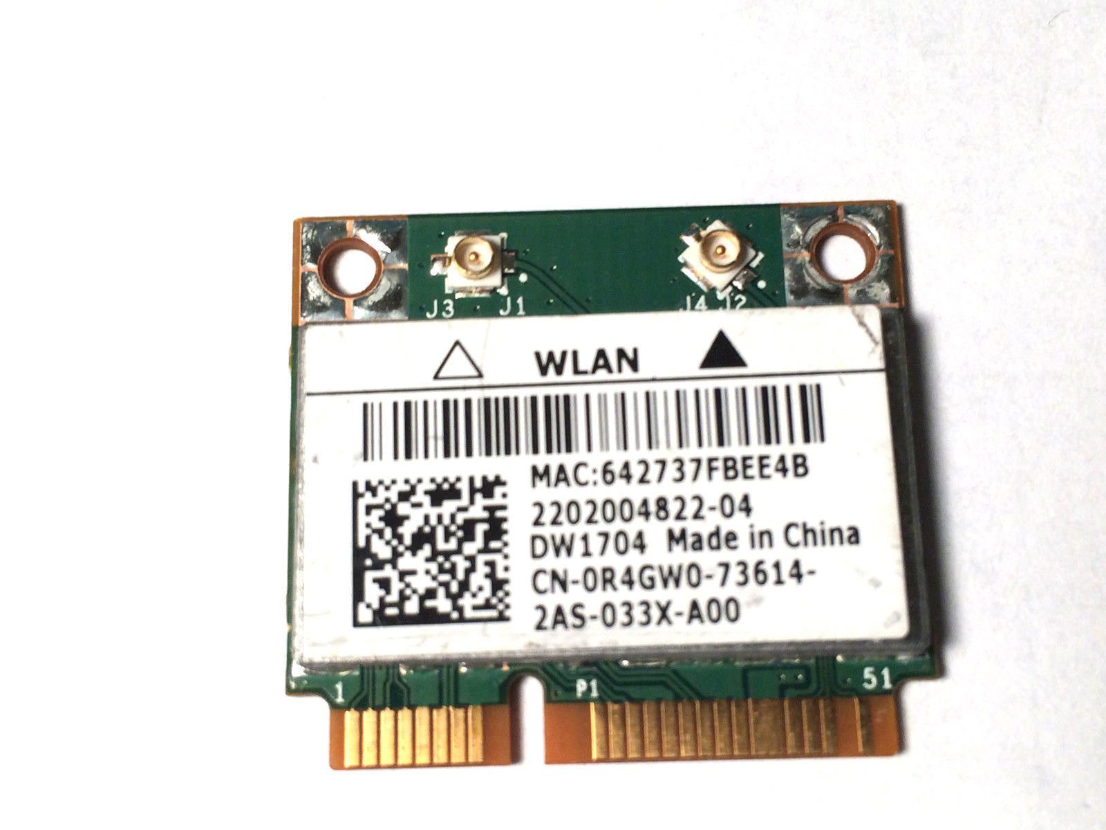 DELL DW1704 Wireless N Card Mini-Card R4GW0 Broadcom BCM943142HM BRCM1063
