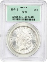 1897-S $1 PCGS MS63 (OGH) - Morgan Silver Dollar - Old Green Holder - $160.05