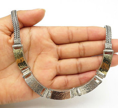 925 Silver & 14K Gold - Vintage Three Tone Hammered Wheat Chain Necklace... - $140.77