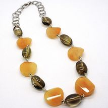 925 Silver Necklace, Brown Jade Disc Wavy, Oval Smoky Quartz image 4